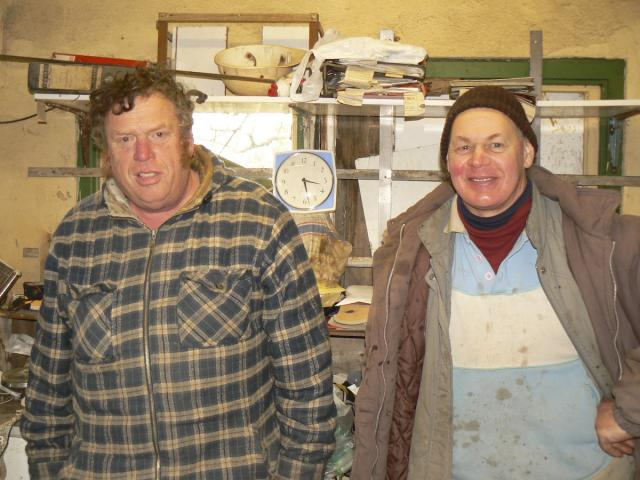Mike and Douglas (Stonemasons in their Office at Chywoon)